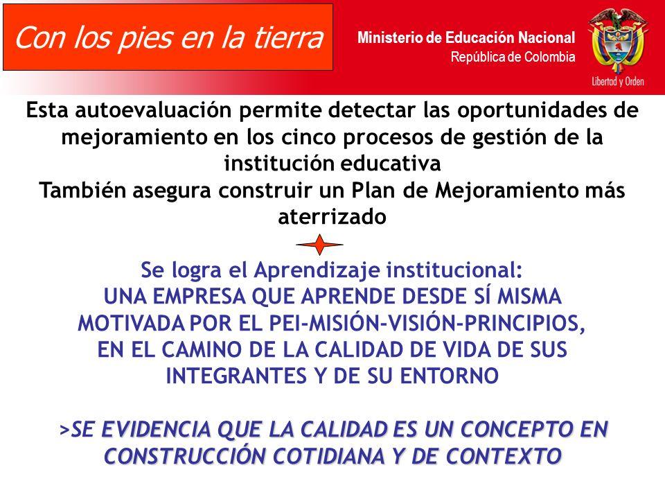 Ministerio de Educación Nacional República de Colombia Los integrantes del establecimiento realizan la evaluación de sus prácticas de gestión, contest