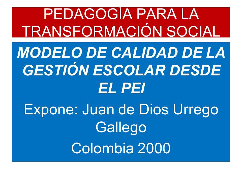 PEDAGOGÍA PARA LA TRANSFORMACIÓN SOCIAL MODELO DE CALIDAD DE LA GESTIÓN ESCOLAR DESDE EL PEI Expone: Juan de Dios Urrego Gallego Colombia 2000