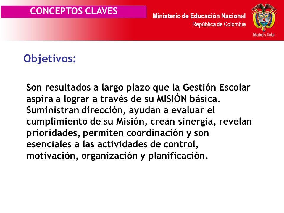Ministerio de Educación Nacional República de Colombia Son puntos de referencia o aspiraciones que las acciones de la Gestión Escolar deben lograr ( a