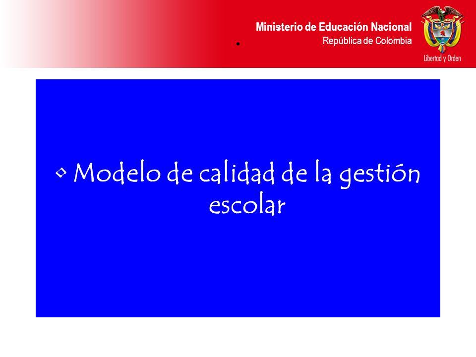 Ministerio de Educación Nacional República de Colombia LA AUTOEVALUACIÓN COMO LA MEJOR OPCIÓN DE LA GESTIÓN ESCOLAR, CAMINO HACIA LA CALIDAD DE VIDA DE LAS PERSONAS LA LLAVE DEL ÉXITO
