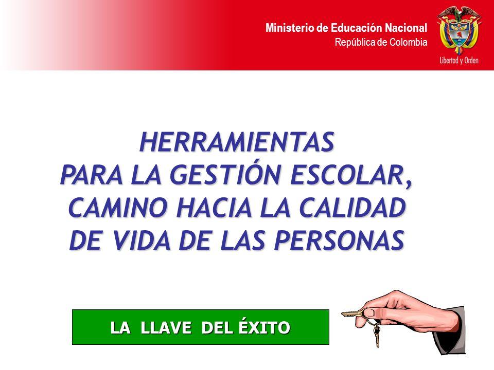 Ministerio de Educación Nacional República de Colombia Determinan el grado de desempeño en cada elemento de gestión, tanto en el área de procesos como