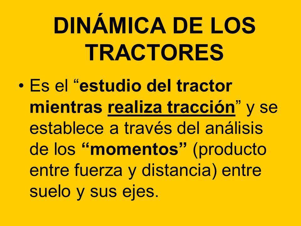 DINÁMICA DE LOS TRACTORES Es el estudio del tractor mientras realiza tracción y se establece a través del análisis de los momentos (producto entre fue