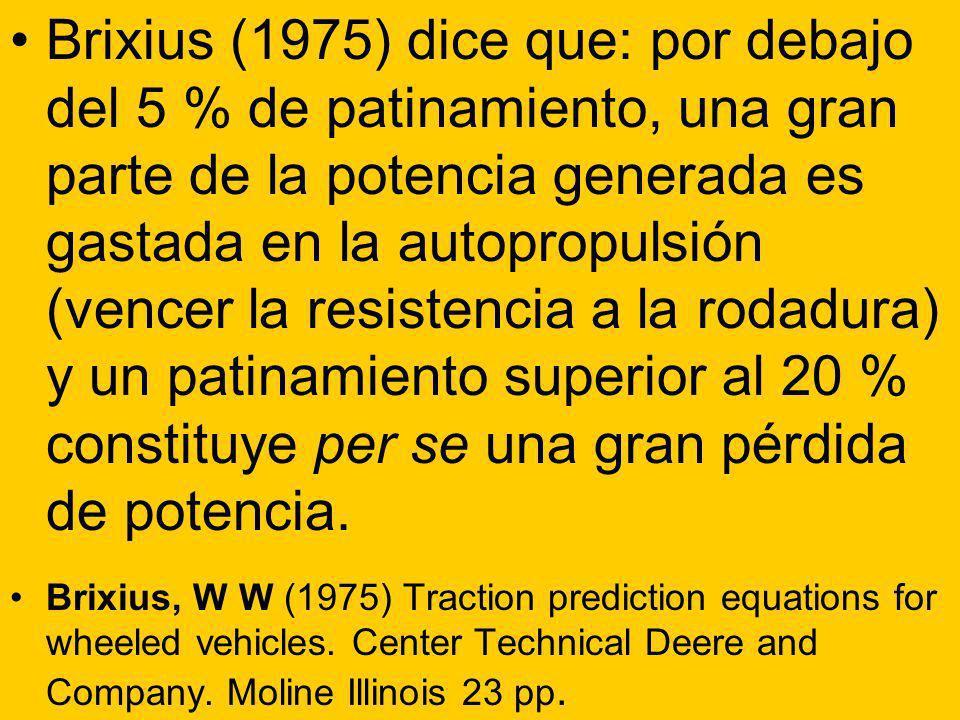 Brixius (1975) dice que: por debajo del 5 % de patinamiento, una gran parte de la potencia generada es gastada en la autopropulsión (vencer la resiste