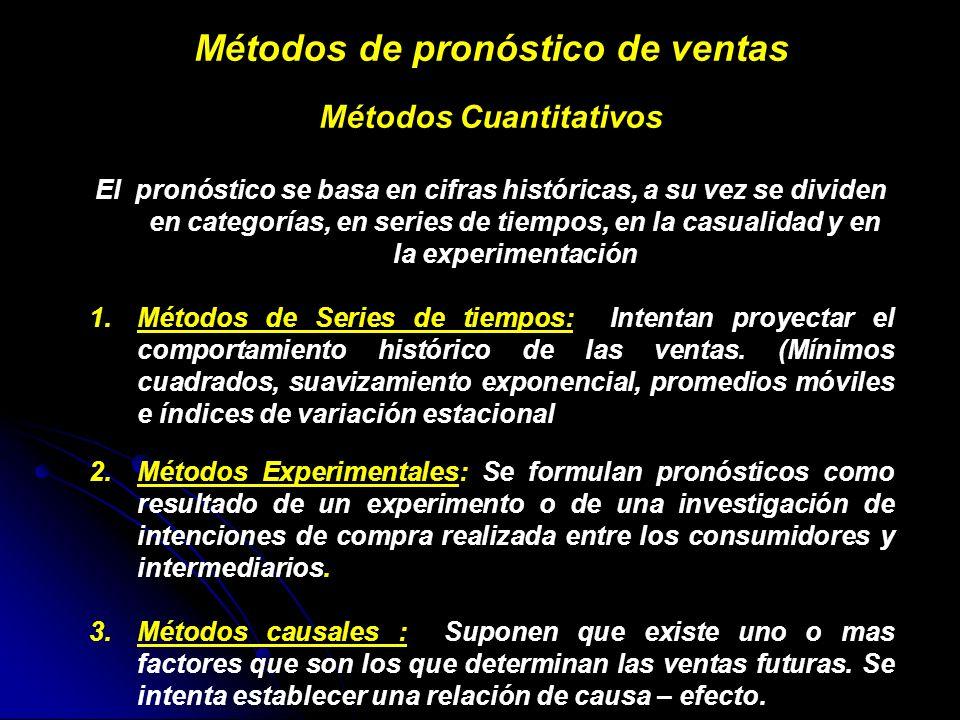 Métodos de pronóstico de ventas Métodos Cuantitativos El pronóstico se basa en cifras históricas, a su vez se dividen en categorías, en series de tiem