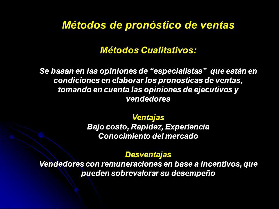 Métodos de pronóstico de ventas Métodos Cualitativos: Se basan en las opiniones de especialistas que están en condiciones en elaborar los pronosticas