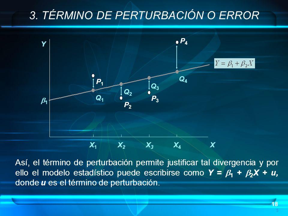 18 P4P4 P3P3 P2P2 P1P1 Q1Q1 Q2Q2 Q3Q3 Q4Q4 5 1 Y X X1X1 X2X2 X3X3 X4X4 3. TÉRMINO DE PERTURBACIÓN O ERROR Así, el término de perturbación permite just