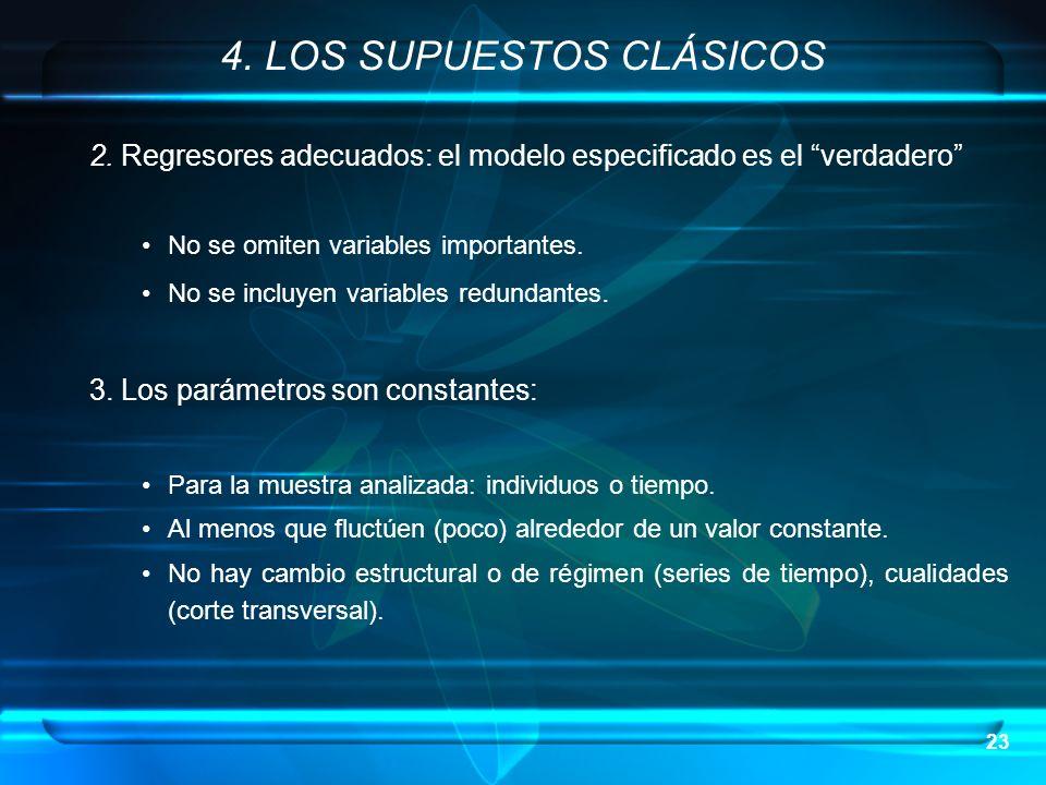 23 2. Regresores adecuados: el modelo especificado es el verdadero No se omiten variables importantes. No se incluyen variables redundantes. 3. Los pa