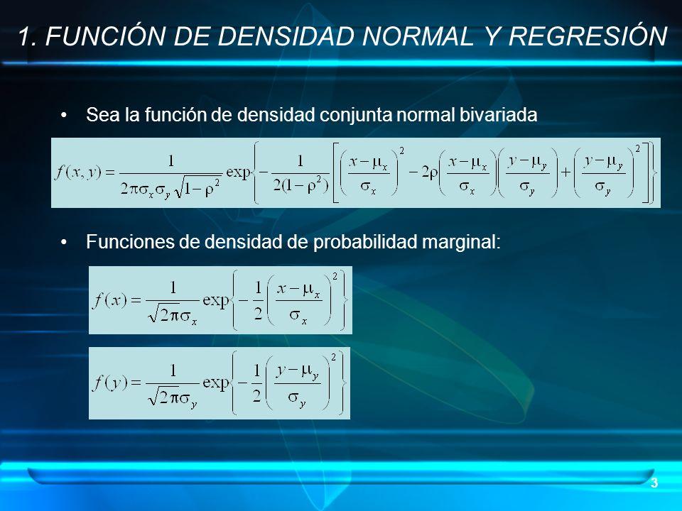 3 Sea la función de densidad conjunta normal bivariada Funciones de densidad de probabilidad marginal: 1. FUNCIÓN DE DENSIDAD NORMAL Y REGRESIÓN
