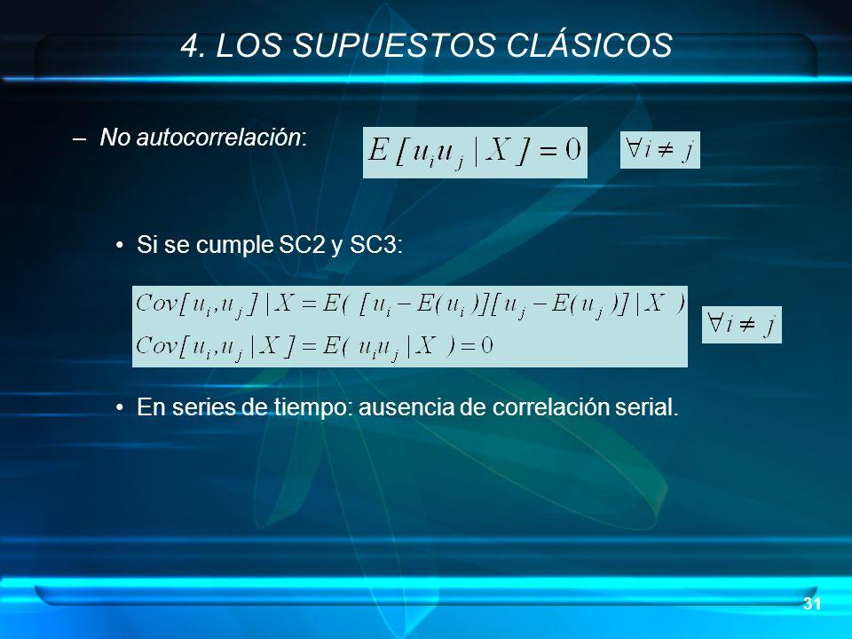 31 –No autocorrelación: Si se cumple SC2 y SC3: En series de tiempo: ausencia de correlación serial. 4. LOS SUPUESTOS CLÁSICOS