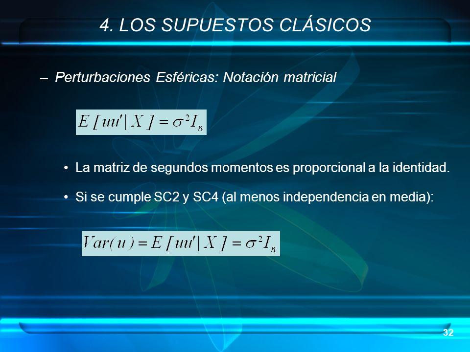 32 –Perturbaciones Esféricas: Notación matricial La matriz de segundos momentos es proporcional a la identidad. Si se cumple SC2 y SC4 (al menos indep