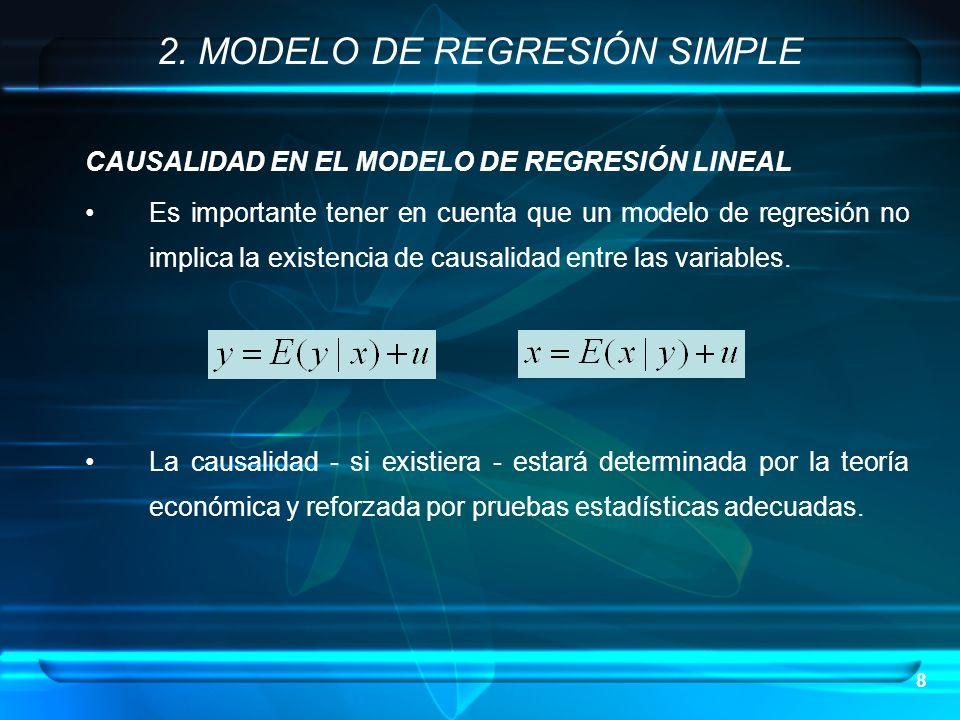 8 CAUSALIDAD EN EL MODELO DE REGRESIÓN LINEAL Es importante tener en cuenta que un modelo de regresión no implica la existencia de causalidad entre la