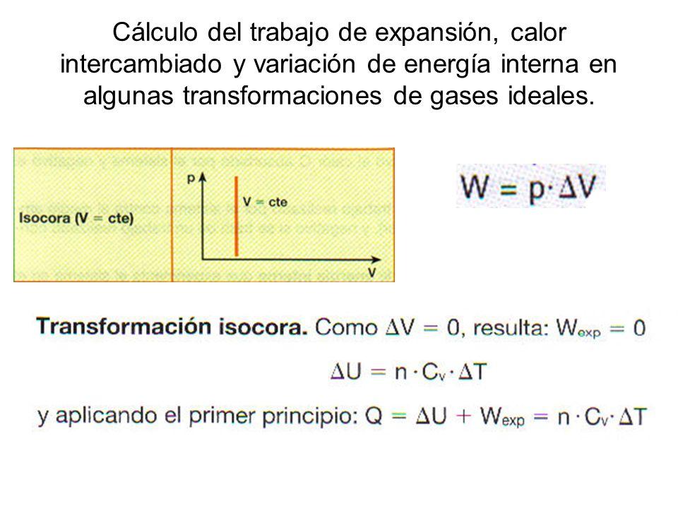 Cálculo del trabajo de expansión, calor intercambiado y variación de energía interna en algunas transformaciones de gases ideales.