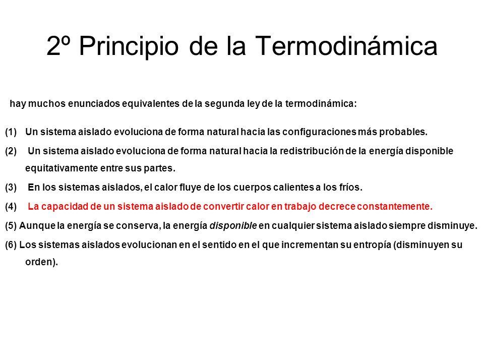 2º Principio de la Termodinámica hay muchos enunciados equivalentes de la segunda ley de la termodinámica: (1)Un sistema aislado evoluciona de forma n