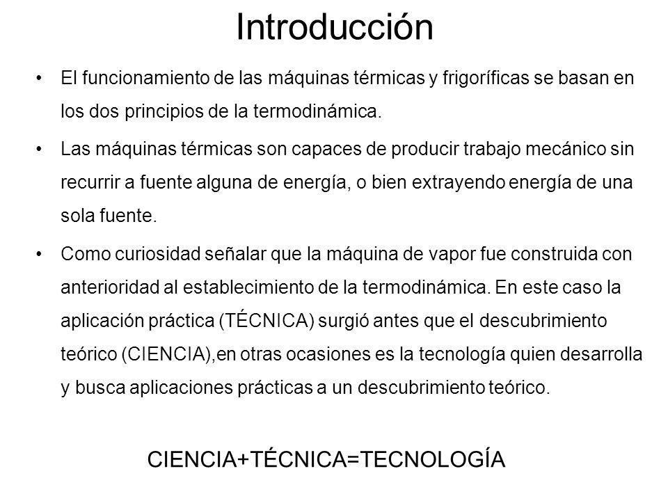 Introducción El funcionamiento de las máquinas térmicas y frigoríficas se basan en los dos principios de la termodinámica. Las máquinas térmicas son c