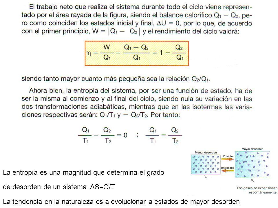 La entropía es una magnitud que determina el grado de desorden de un sistema. ΔS=Q/T La tendencia en la naturaleza es a evolucionar a estados de mayor