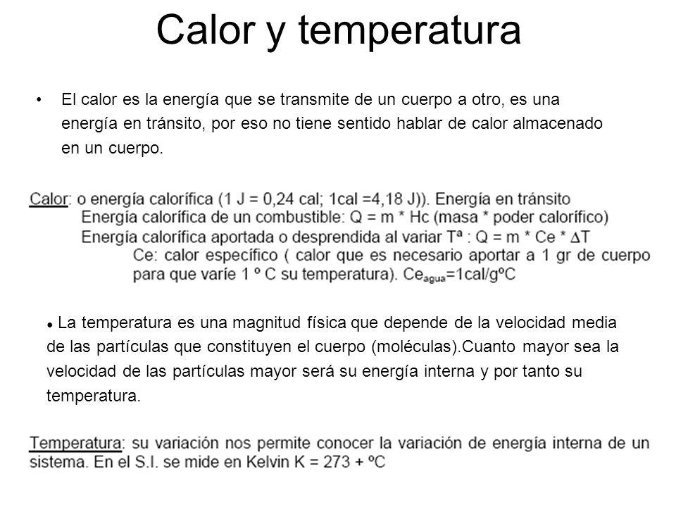 Calor y temperatura El calor es la energía que se transmite de un cuerpo a otro, es una energía en tránsito, por eso no tiene sentido hablar de calor