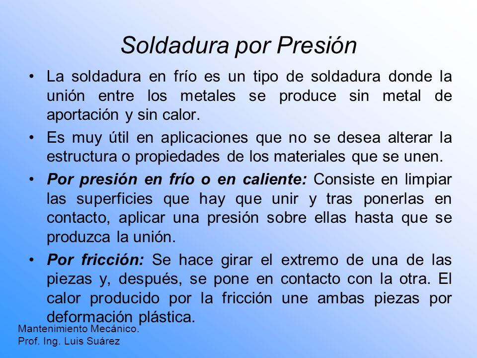 Soldadura por Presión La soldadura en frío es un tipo de soldadura donde la unión entre los metales se produce sin metal de aportación y sin calor. Es