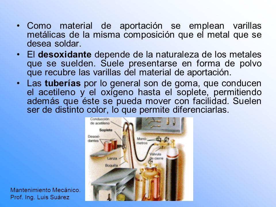 Como material de aportación se emplean varillas metálicas de la misma composición que el metal que se desea soldar. El desoxidante depende de la natur