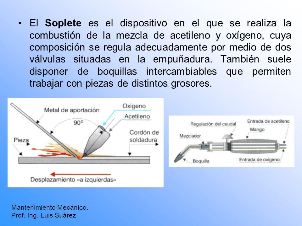 El Soplete es el dispositivo en el que se realiza la combustión de la mezcla de acetileno y oxígeno, cuya composición se regula adecuadamente por medi