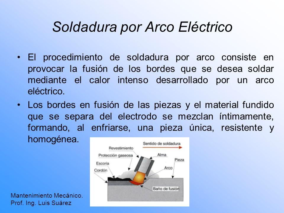 Soldadura por Arco Eléctrico El procedimiento de soldadura por arco consiste en provocar la fusión de los bordes que se desea soldar mediante el calor