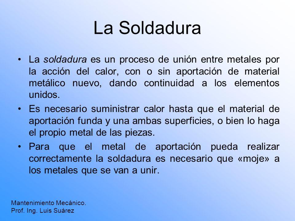 La Soldadura La soldadura es un proceso de unión entre metales por la acción del calor, con o sin aportación de material metálico nuevo, dando continu