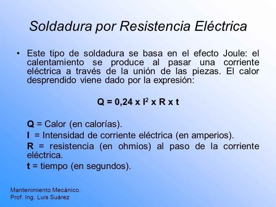 Soldadura por Resistencia Eléctrica Mantenimiento Mecánico. Prof. Ing. Luis Suárez Este tipo de soldadura se basa en el efecto Joule: el calentamiento