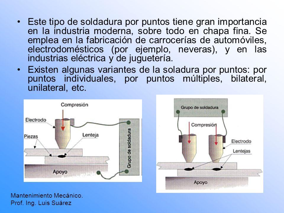 Mantenimiento Mecánico. Prof. Ing. Luis Suárez Este tipo de soldadura por puntos tiene gran importancia en la industria moderna, sobre todo en chapa f