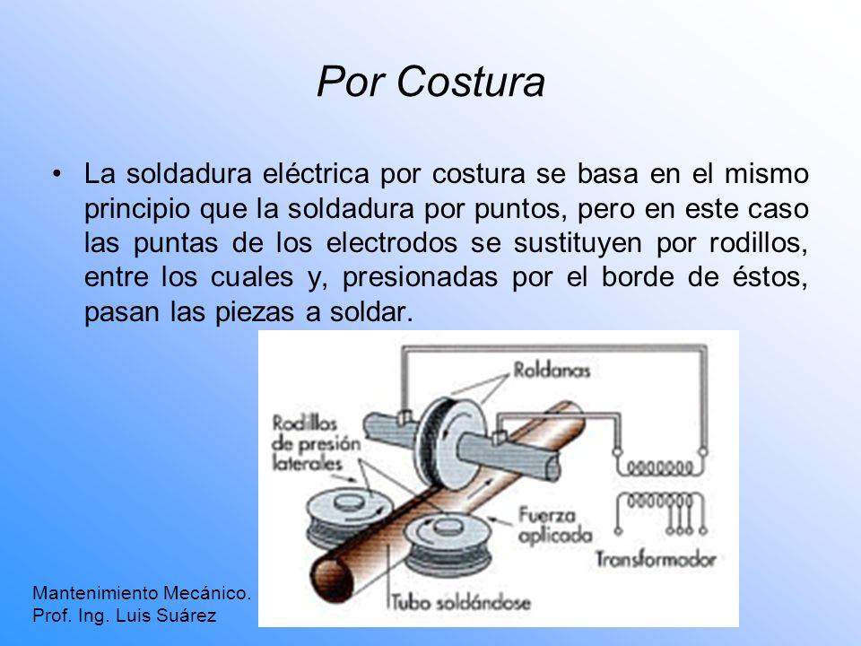 Por Costura Mantenimiento Mecánico. Prof. Ing. Luis Suárez La soldadura eléctrica por costura se basa en el mismo principio que la soldadura por punto