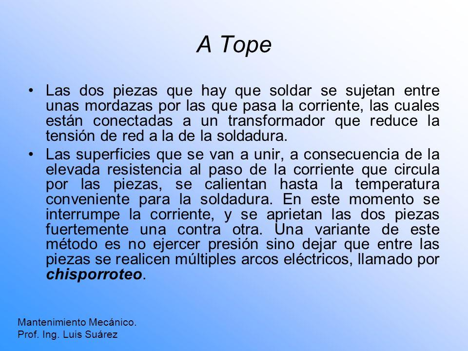 A Tope Mantenimiento Mecánico. Prof. Ing. Luis Suárez Las dos piezas que hay que soldar se sujetan entre unas mordazas por las que pasa la corriente,