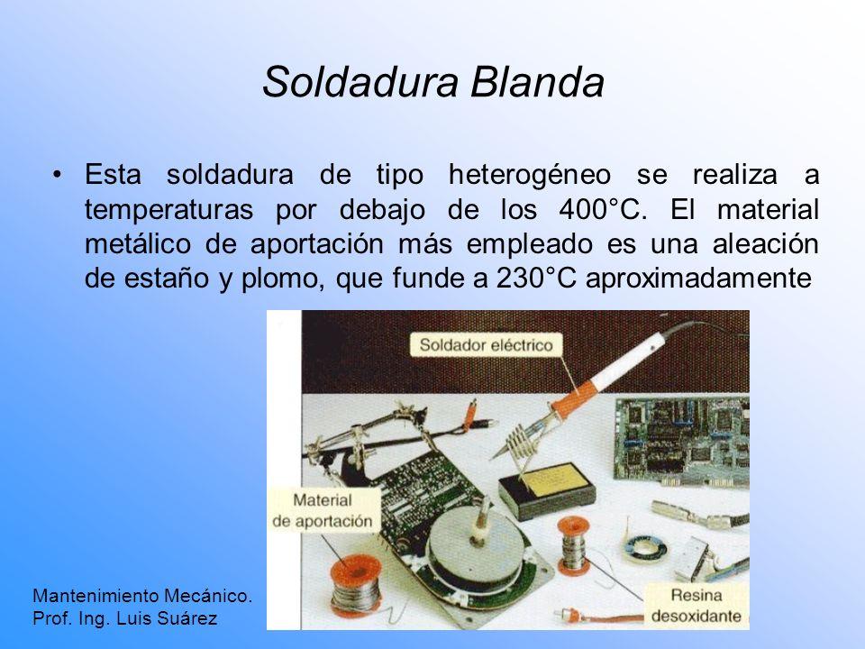 Soldadura Blanda Esta soldadura de tipo heterogéneo se realiza a temperaturas por debajo de los 400°C. El material metálico de aportación más empleado