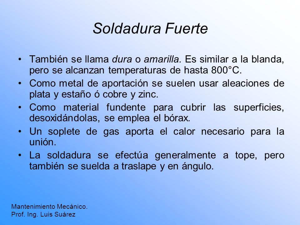 Soldadura Fuerte También se llama dura o amarilla. Es similar a la blanda, pero se alcanzan temperaturas de hasta 800°C. Como metal de aportación se s