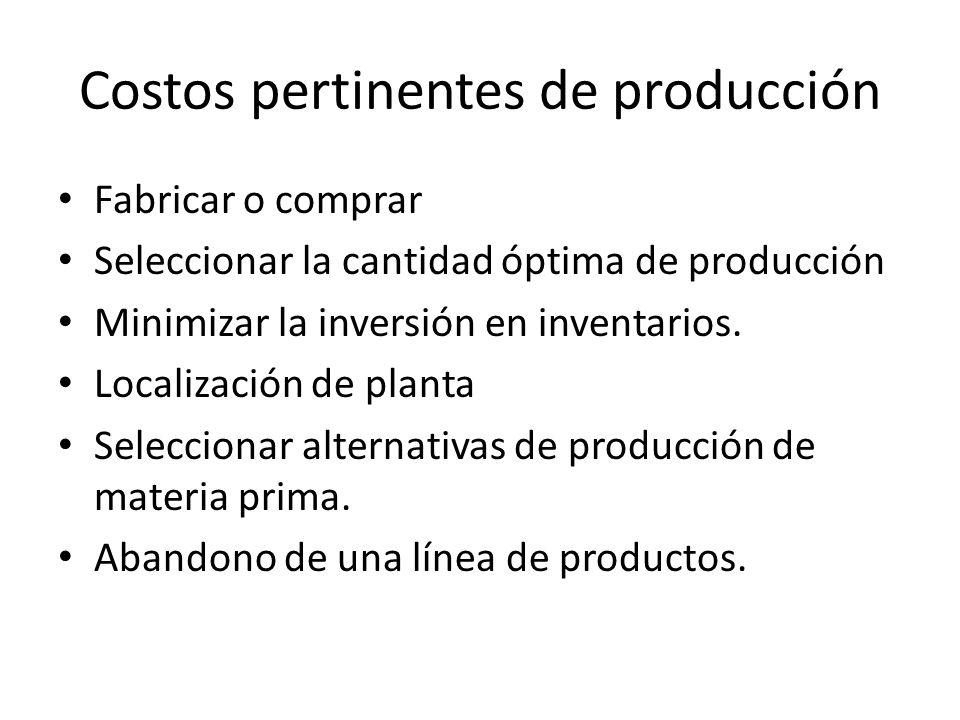 Costos pertinentes de producción Fabricar o comprar Seleccionar la cantidad óptima de producción Minimizar la inversión en inventarios. Localización d