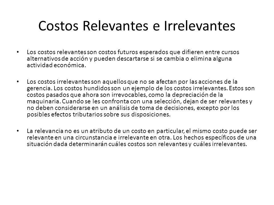 Costos Relevantes e Irrelevantes Los costos relevantes son costos futuros esperados que difieren entre cursos alternativos de acción y pueden descarta