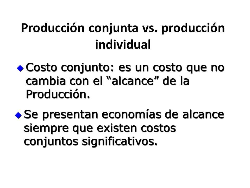 Producción conjunta vs. producción individual Costo conjunto: es un costo que no cambia con el alcance de la Producción. Costo conjunto: es un costo q