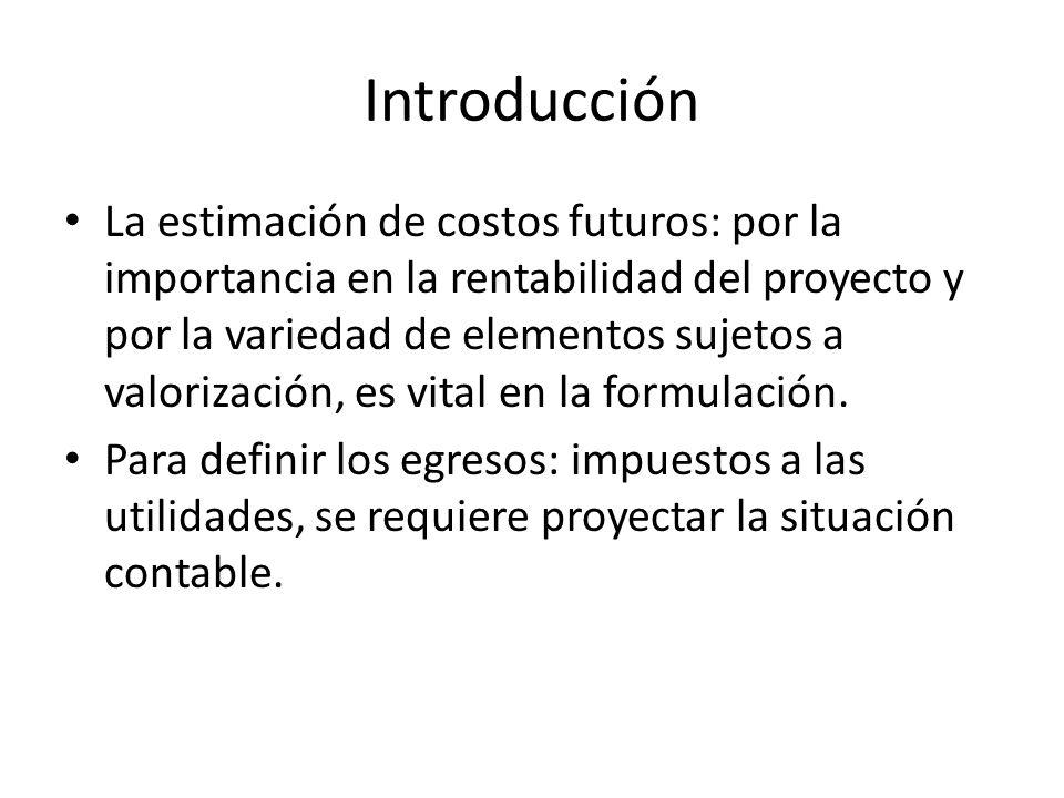 Introducción La estimación de costos futuros: por la importancia en la rentabilidad del proyecto y por la variedad de elementos sujetos a valorización