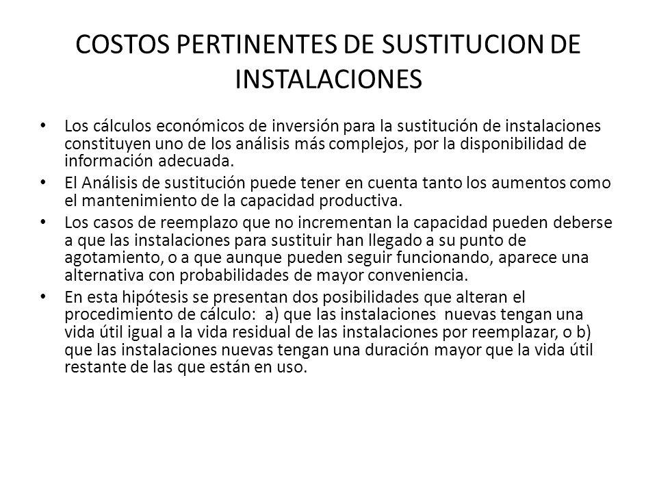 COSTOS PERTINENTES DE SUSTITUCION DE INSTALACIONES Los cálculos económicos de inversión para la sustitución de instalaciones constituyen uno de los an