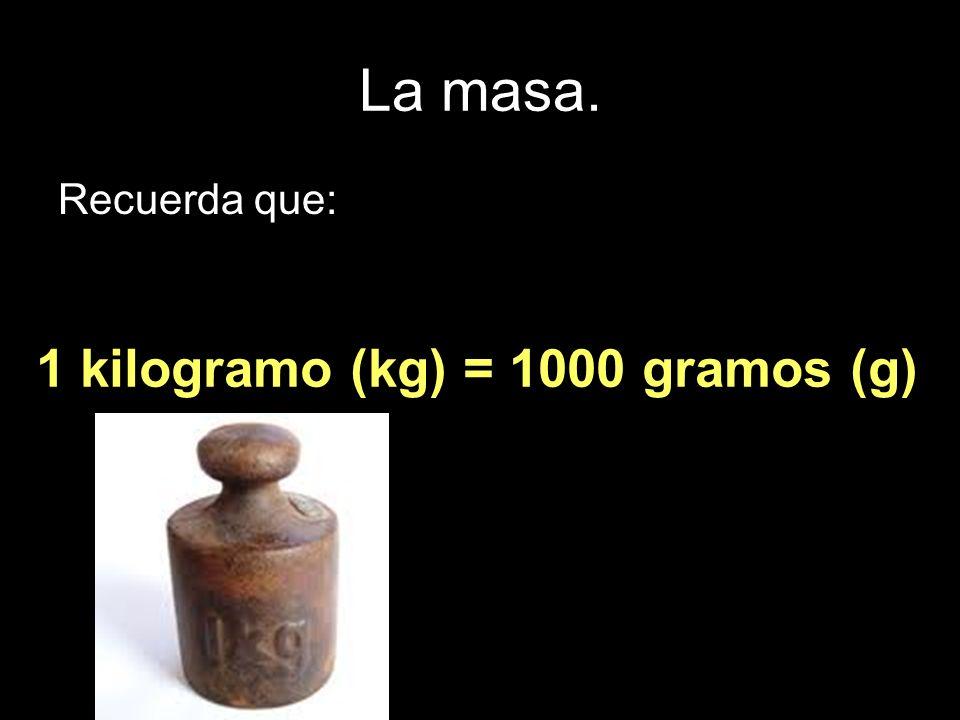 La masa. Recuerda que: 1 kilogramo (kg) = 1000 gramos (g)