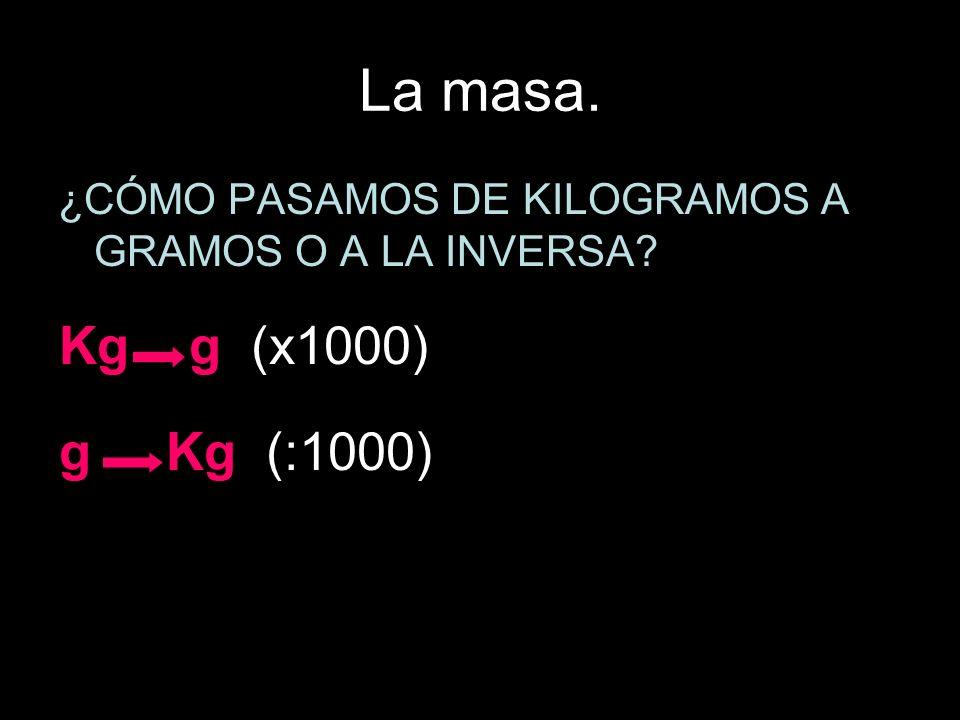 La masa. ¿CÓMO PASAMOS DE KILOGRAMOS A GRAMOS O A LA INVERSA? Kg g (x1000) g Kg (:1000)
