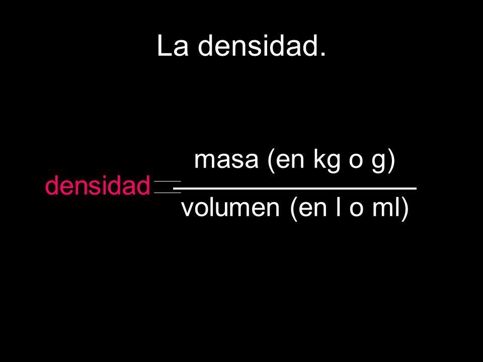 La densidad. densidad masa (en kg o g) volumen (en l o ml)