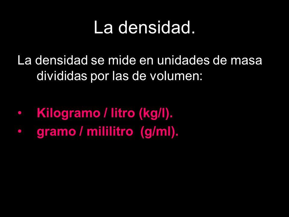 La densidad. La densidad se mide en unidades de masa divididas por las de volumen: Kilogramo / litro (kg/l). gramo / mililitro (g/ml).