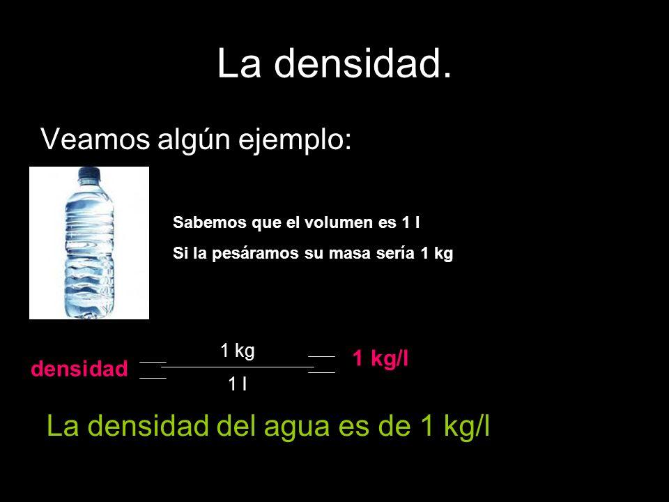 La densidad. Veamos algún ejemplo: Sabemos que el volumen es 1 l Si la pesáramos su masa sería 1 kg densidad 1 kg 1 l 1 kg/l La densidad del agua es d
