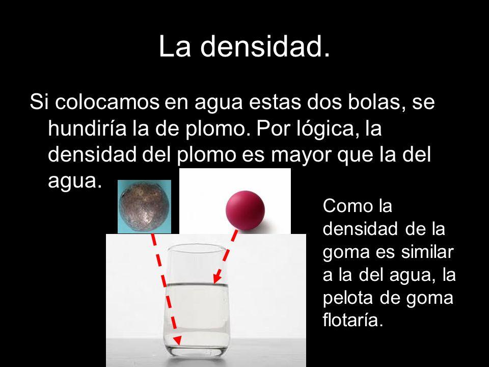 La densidad. Si colocamos en agua estas dos bolas, se hundiría la de plomo. Por lógica, la densidad del plomo es mayor que la del agua. Como la densid