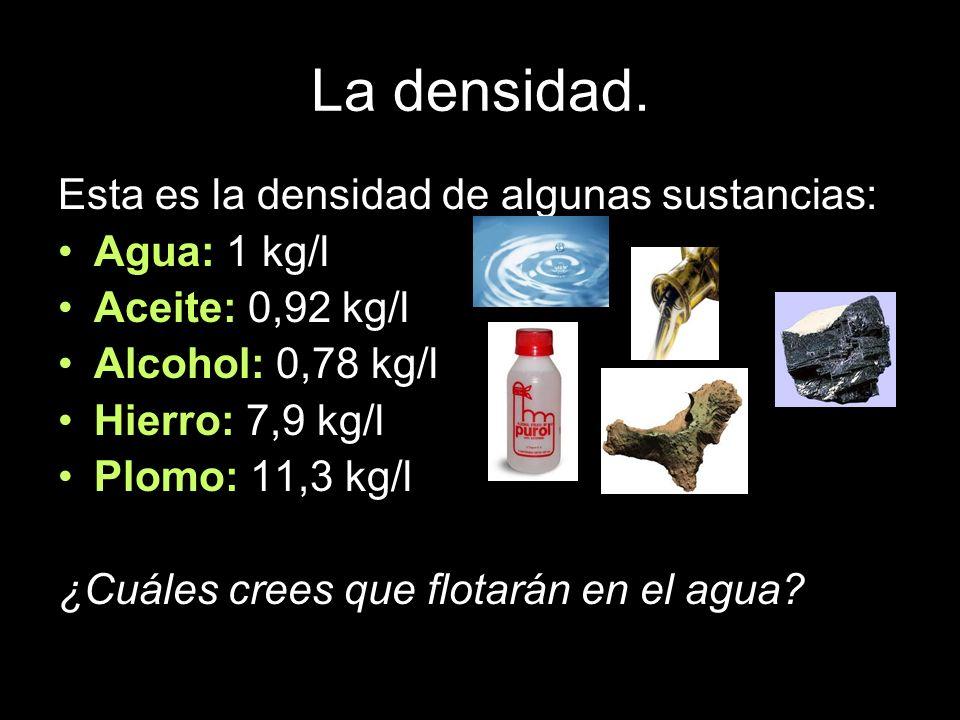 La densidad. Esta es la densidad de algunas sustancias: Agua: 1 kg/l Aceite: 0,92 kg/l Alcohol: 0,78 kg/l Hierro: 7,9 kg/l Plomo: 11,3 kg/l ¿Cuáles cr