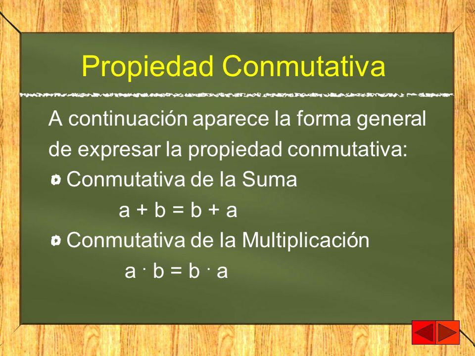 Propiedad Conmutativa A continuación aparece la forma general de expresar la propiedad conmutativa: Conmutativa de la Suma a + b = b + a Conmutativa d