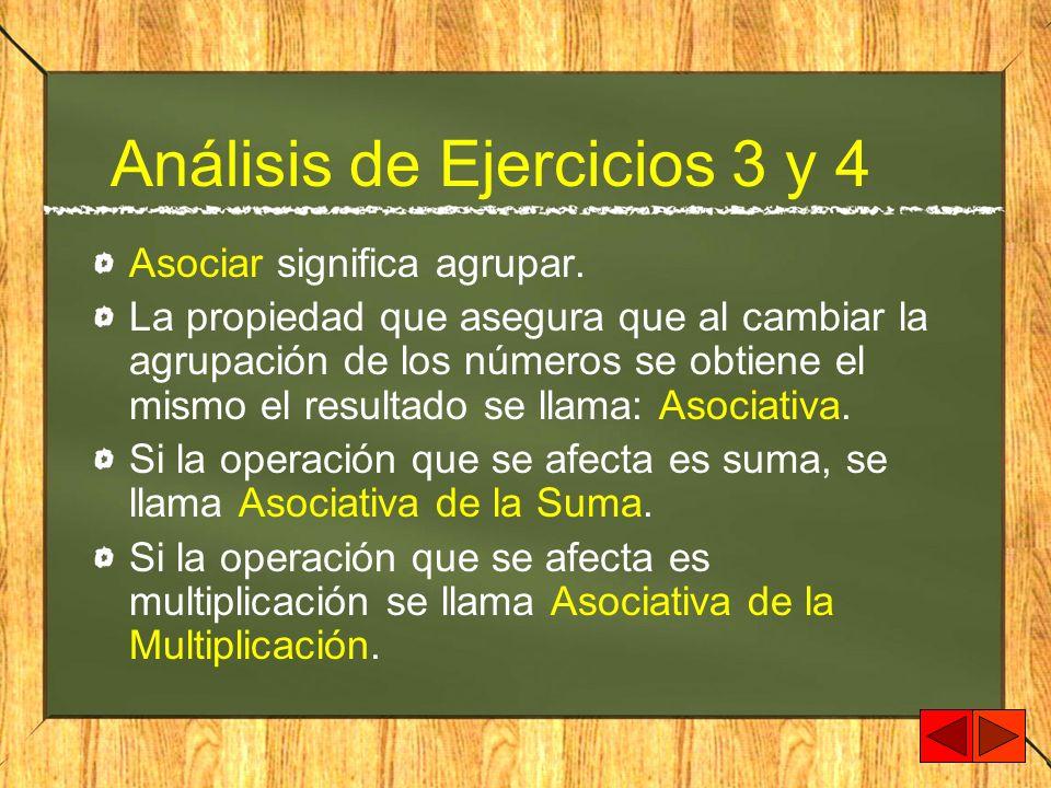 Análisis de Ejercicios 3 y 4 Asociar significa agrupar. La propiedad que asegura que al cambiar la agrupación de los números se obtiene el mismo el re