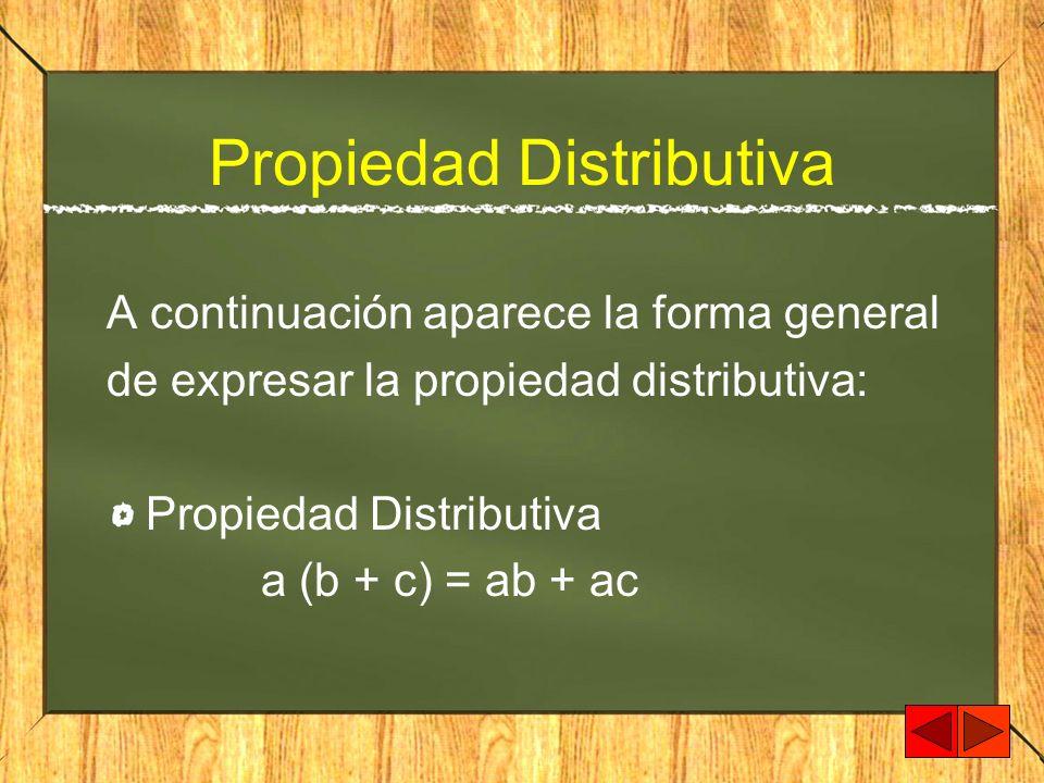 Propiedad Distributiva A continuación aparece la forma general de expresar la propiedad distributiva: Propiedad Distributiva a (b + c) = ab + ac