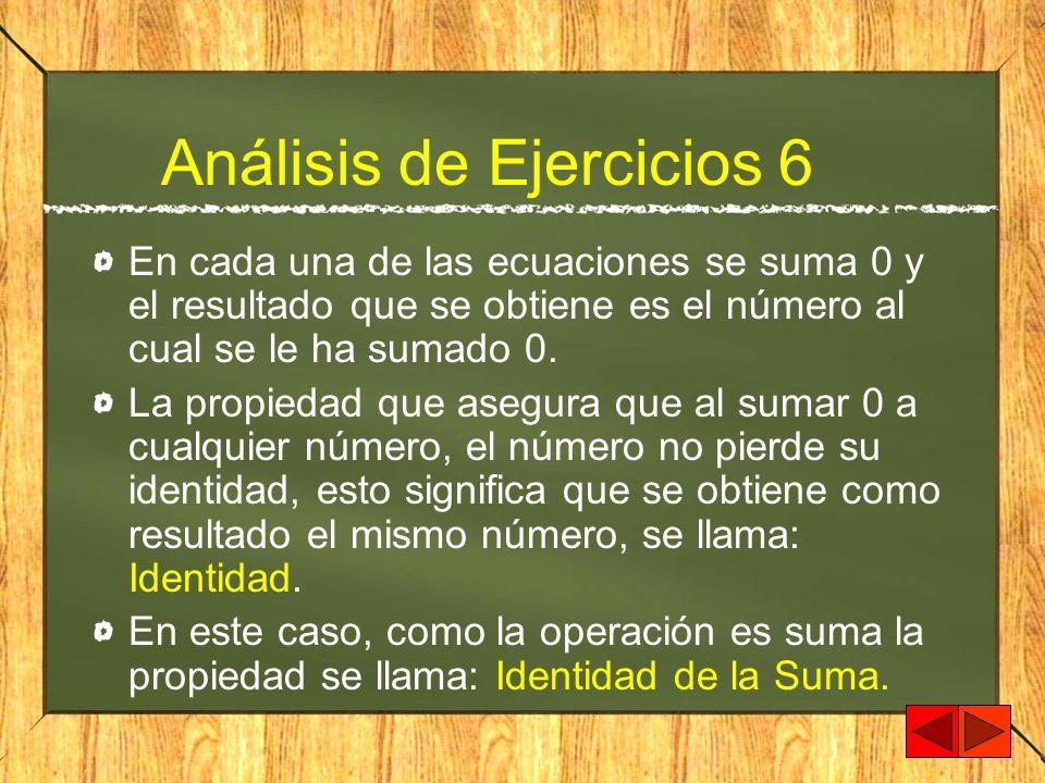 Análisis de Ejercicios 6 En cada una de las ecuaciones se suma 0 y el resultado que se obtiene es el número al cual se le ha sumado 0. La propiedad qu