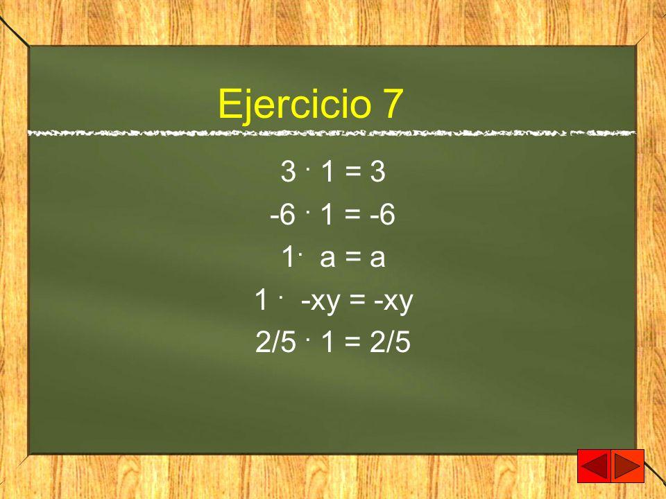 Ejercicio 7 3. 1 = 3 -6. 1 = -6 1. a = a 1. -xy = -xy 2/5. 1 = 2/5