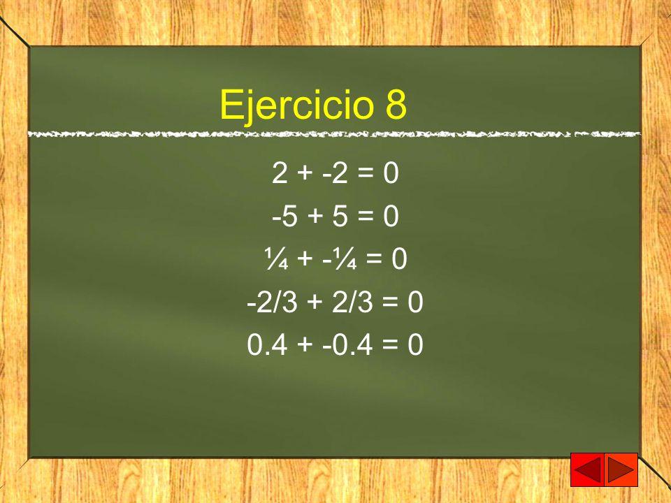 Ejercicio 8 2 + -2 = 0 -5 + 5 = 0 ¼ + -¼ = 0 -2/3 + 2/3 = 0 0.4 + -0.4 = 0
