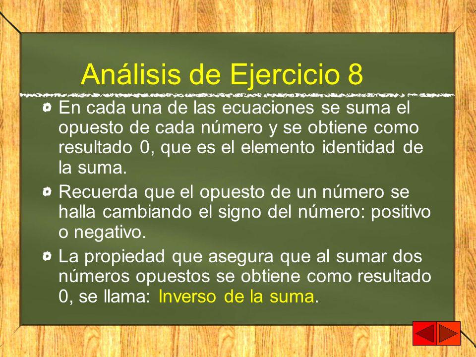 Análisis de Ejercicio 8 En cada una de las ecuaciones se suma el opuesto de cada número y se obtiene como resultado 0, que es el elemento identidad de